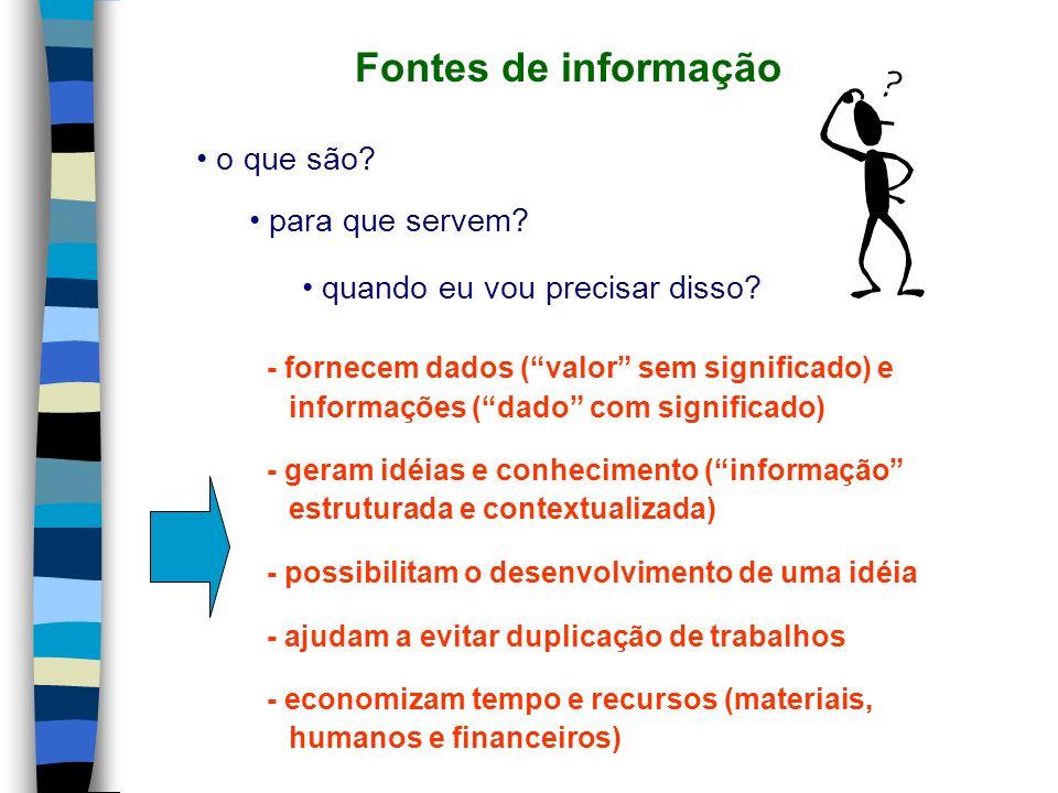 Fontes de informação o que são para que servem
