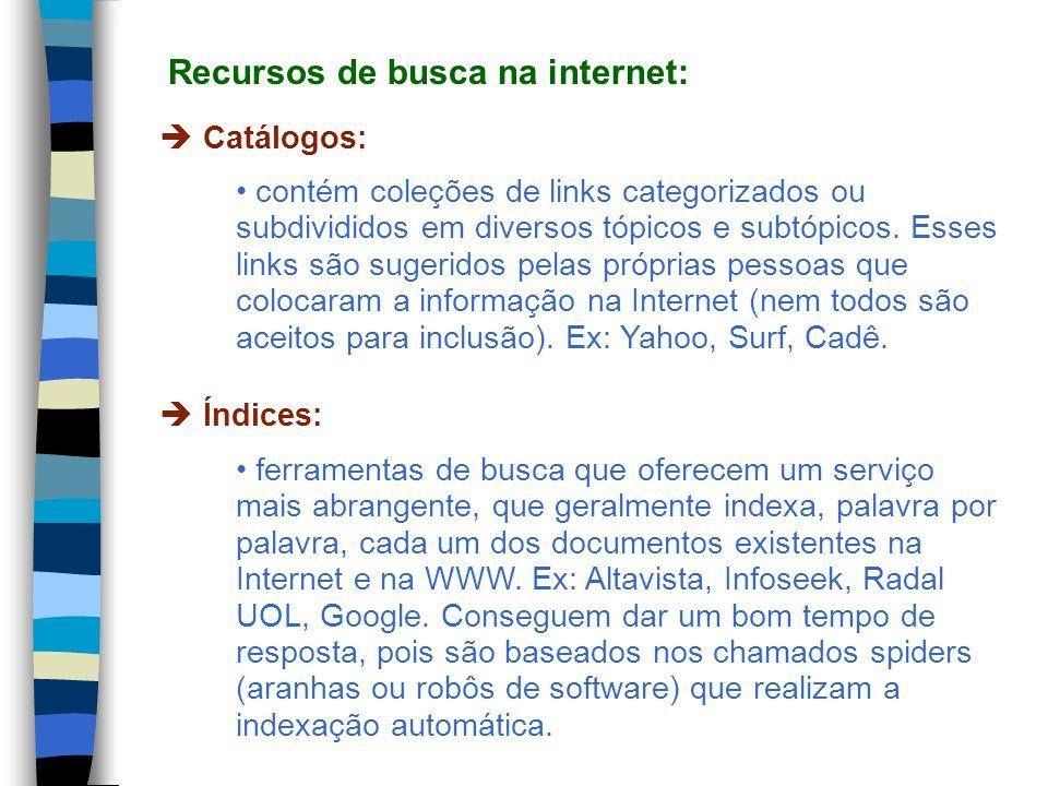 Recursos de busca na internet: