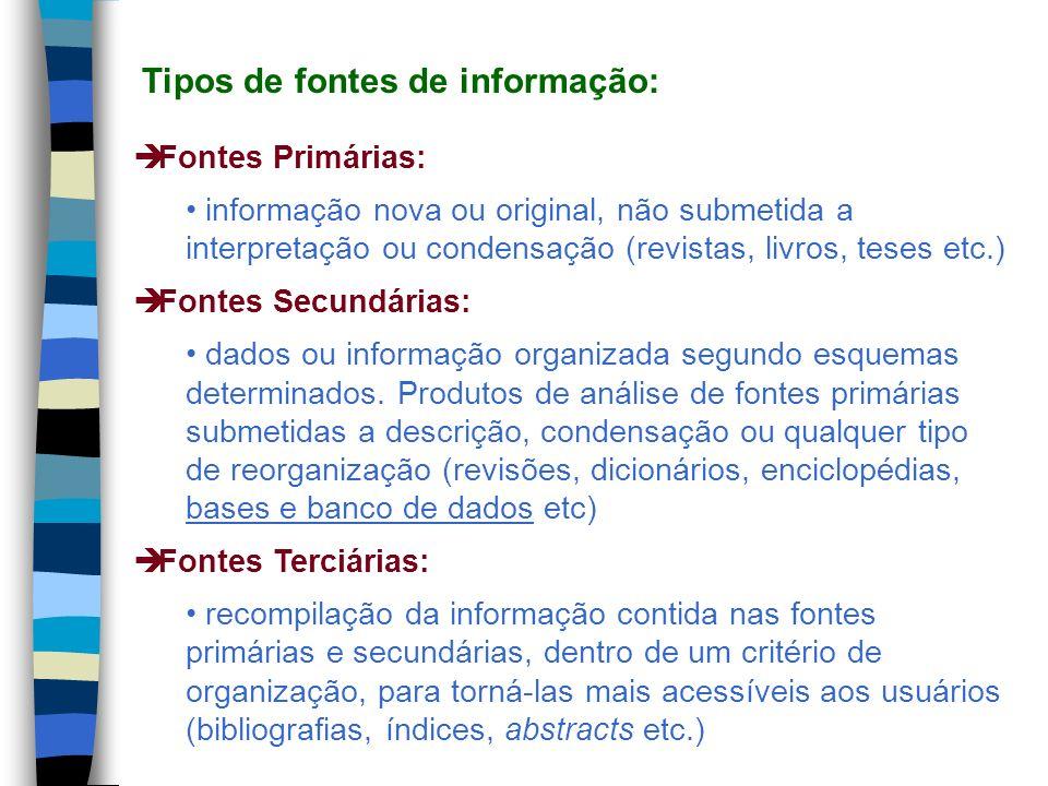 Tipos de fontes de informação: