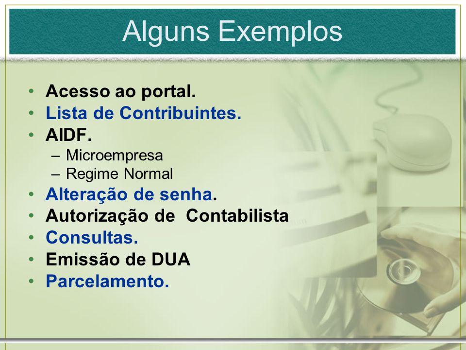 Alguns Exemplos Acesso ao portal. Lista de Contribuintes. AIDF.