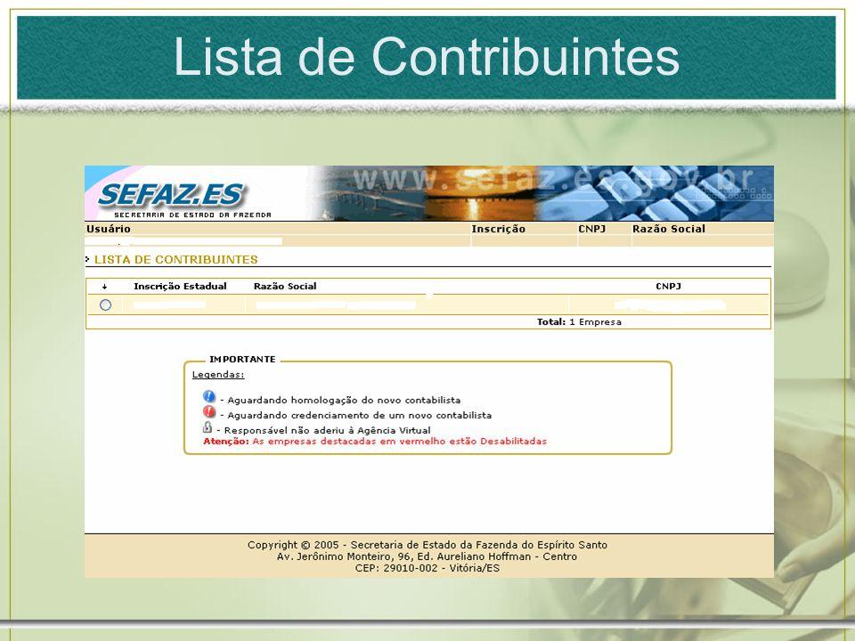 Lista de Contribuintes