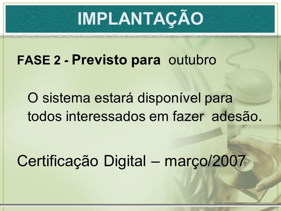 IMPLANTAÇÃO Certificação Digital – março/2007