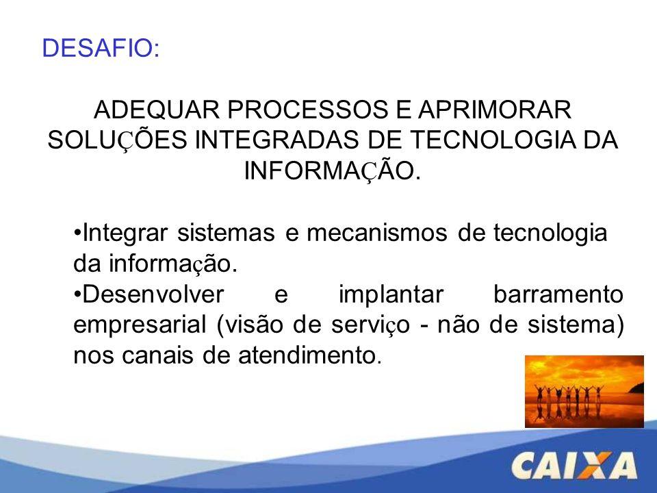 DESAFIO: ADEQUAR PROCESSOS E APRIMORAR SOLUÇÕES INTEGRADAS DE TECNOLOGIA DA INFORMAÇÃO.