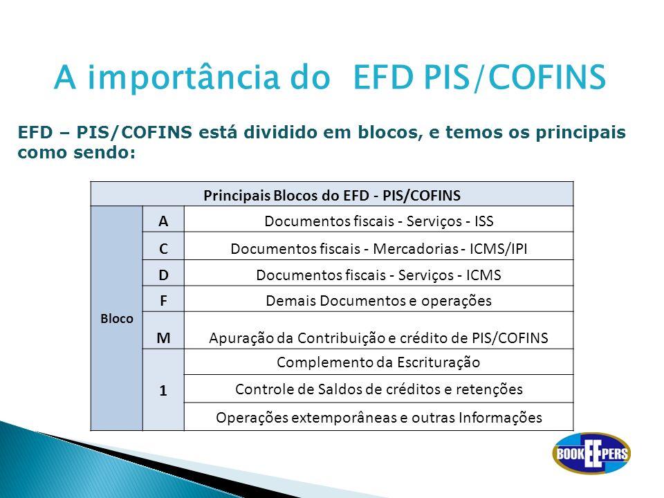 Principais Blocos do EFD - PIS/COFINS