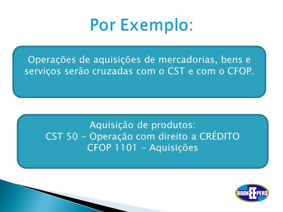 Por Exemplo: Operações de aquisições de mercadorias, bens e serviços serão cruzadas com o CST e com o CFOP.