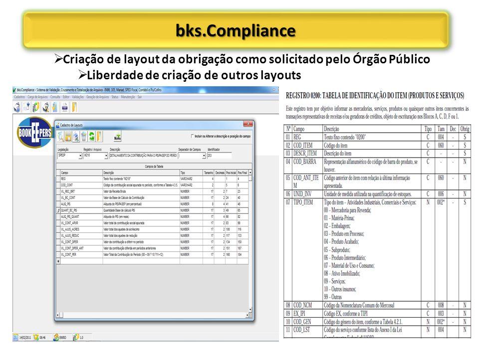 bks.Compliance Criação de layout da obrigação como solicitado pelo Órgão Público.
