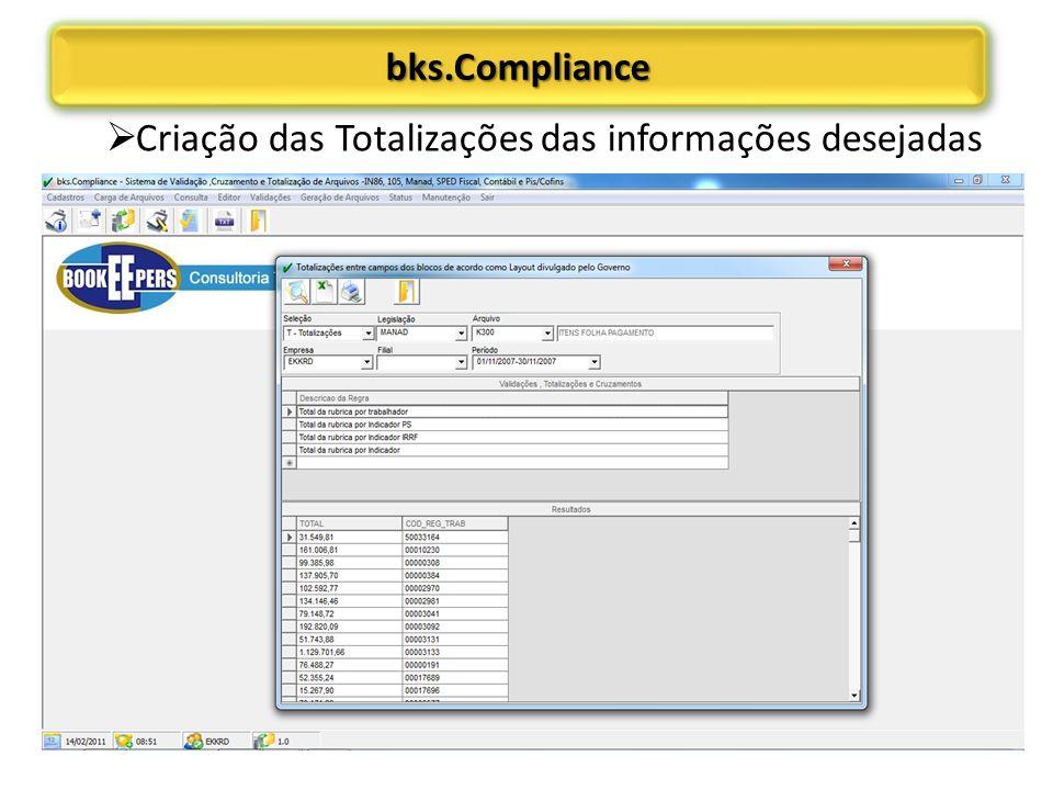 bks.Compliance Criação das Totalizações das informações desejadas