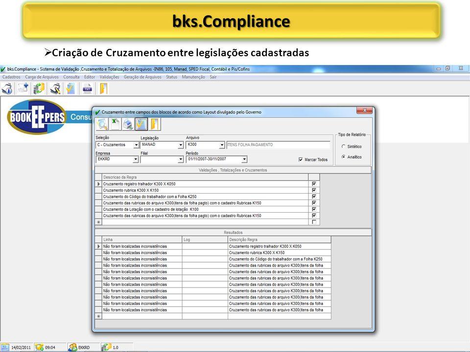bks.Compliance Criação de Cruzamento entre legislações cadastradas