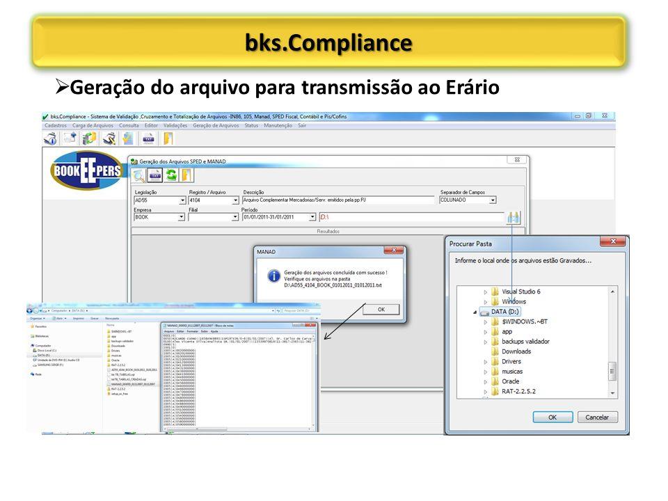 bks.Compliance Geração do arquivo para transmissão ao Erário