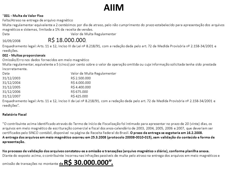 AIIM 001 - Multa de Valor Fixo