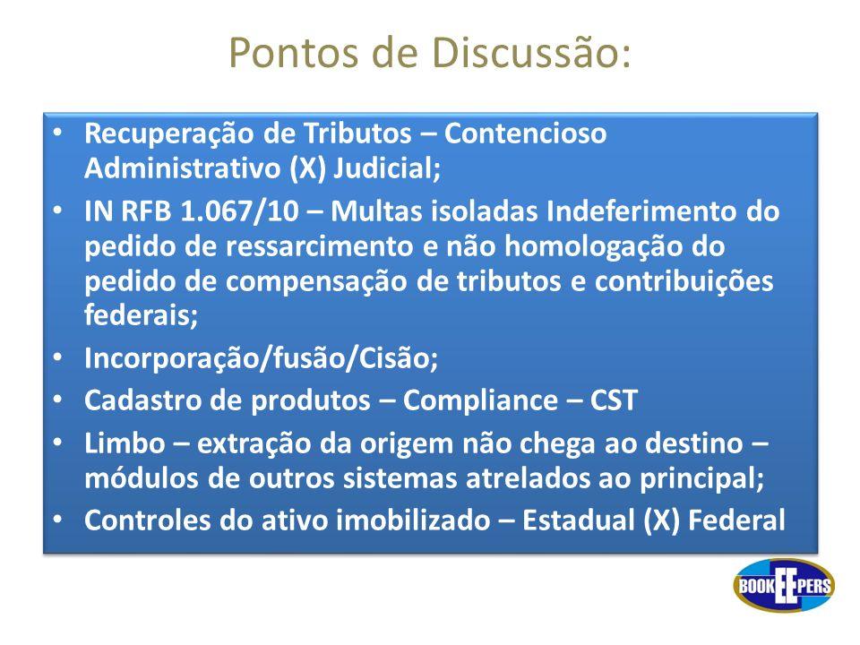 Pontos de Discussão: Recuperação de Tributos – Contencioso Administrativo (X) Judicial;