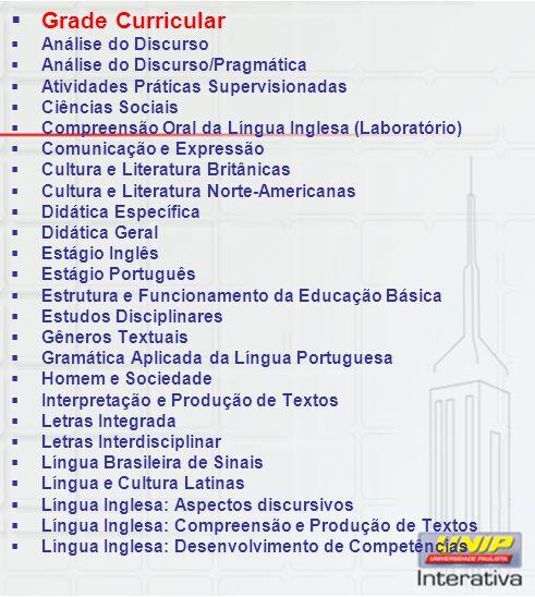 Grade Curricular Análise do Discurso Análise do Discurso/Pragmática