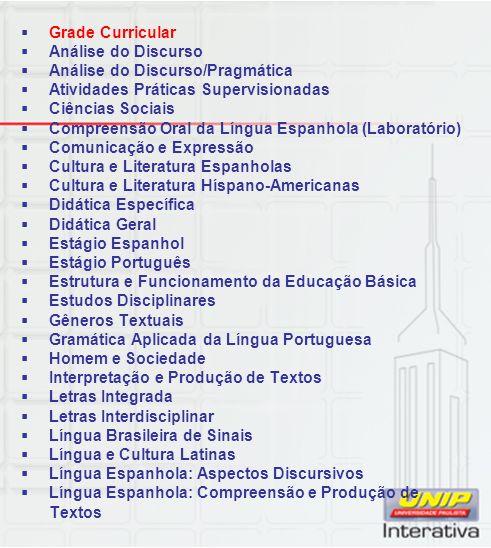 Grade Curricular Análise do Discurso. Análise do Discurso/Pragmática. Atividades Práticas Supervisionadas.