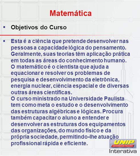 Matemática Objetivos do Curso
