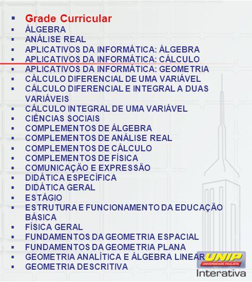 Grade Curricular ÁLGEBRA ANÁLISE REAL