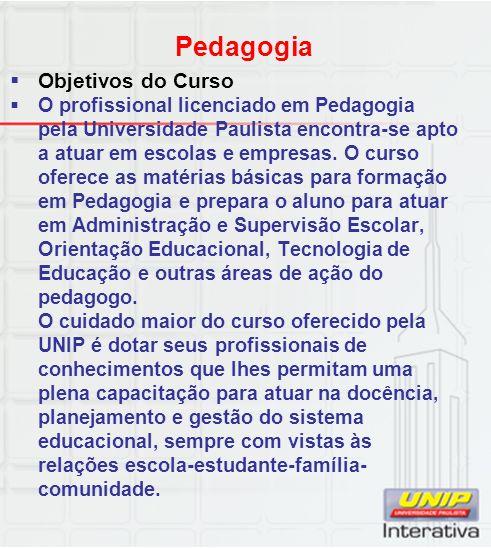 Pedagogia Objetivos do Curso