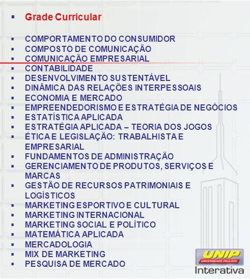 Grade Curricular COMPORTAMENTO DO CONSUMIDOR COMPOSTO DE COMUNICAÇÃO