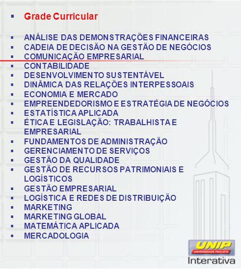 Grade Curricular ANÁLISE DAS DEMONSTRAÇÕES FINANCEIRAS