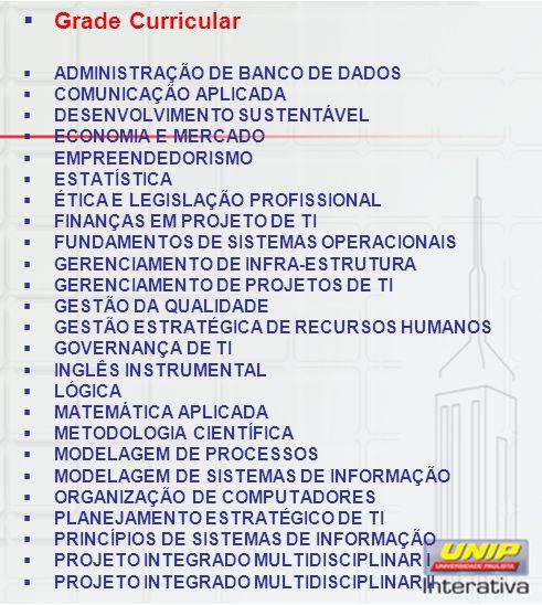 Grade Curricular ADMINISTRAÇÃO DE BANCO DE DADOS COMUNICAÇÃO APLICADA