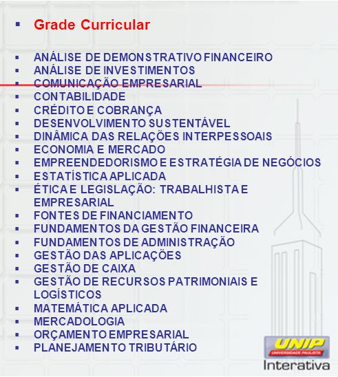 Grade Curricular ANÁLISE DE DEMONSTRATIVO FINANCEIRO