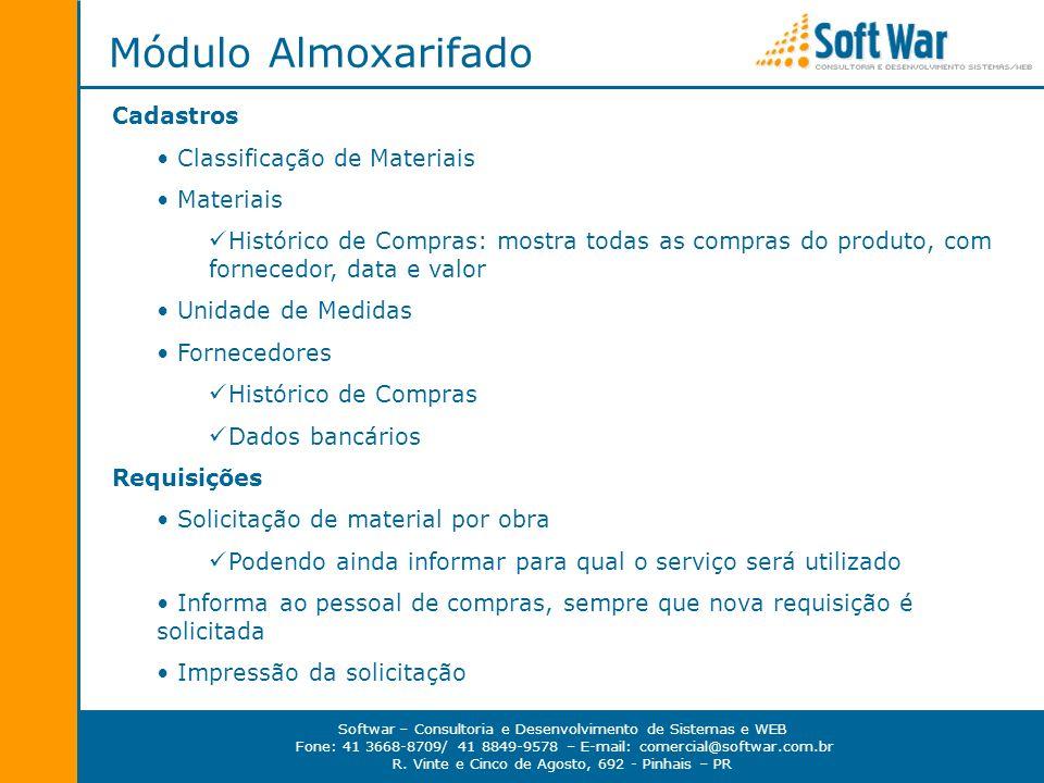 Módulo Almoxarifado Cadastros Classificação de Materiais Materiais