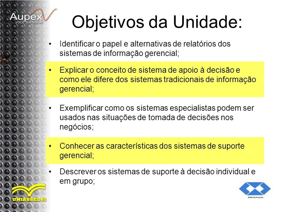 Objetivos da Unidade: Identificar o papel e alternativas de relatórios dos sistemas de informação gerencial;