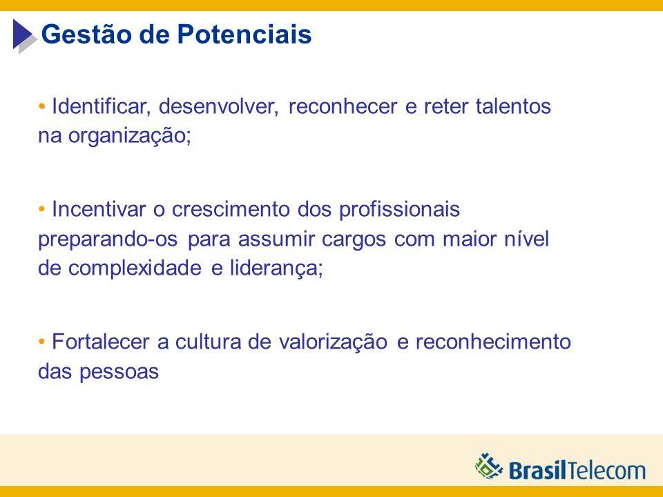 Gestão de Potenciais Identificar, desenvolver, reconhecer e reter talentos na organização;