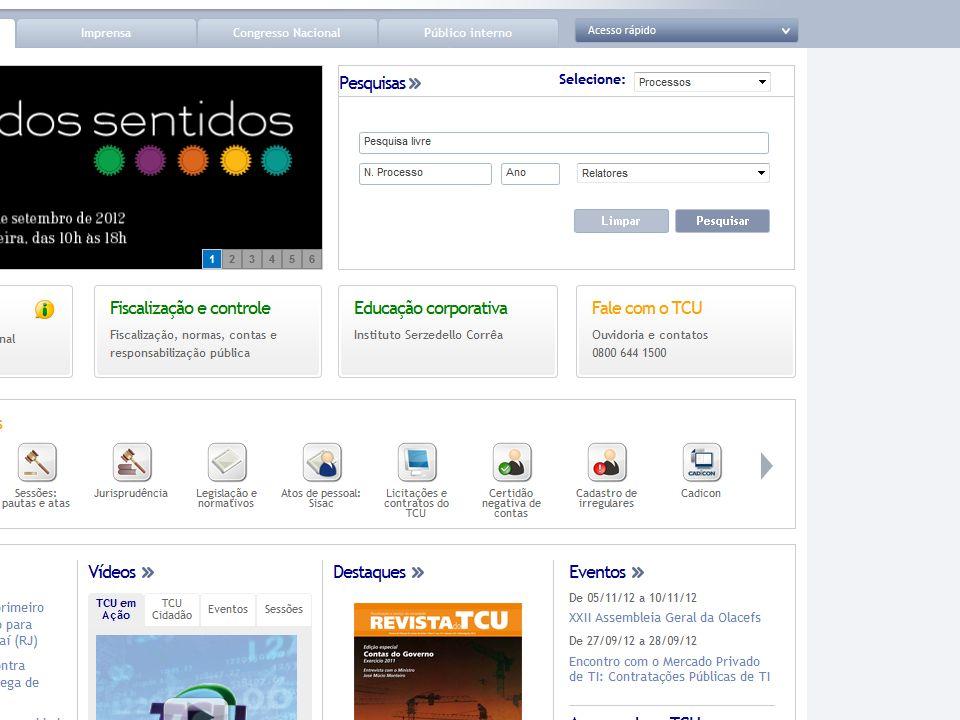 TCU na Internet http://www.tcu.gov.br 1. www.tcu.gov.br
