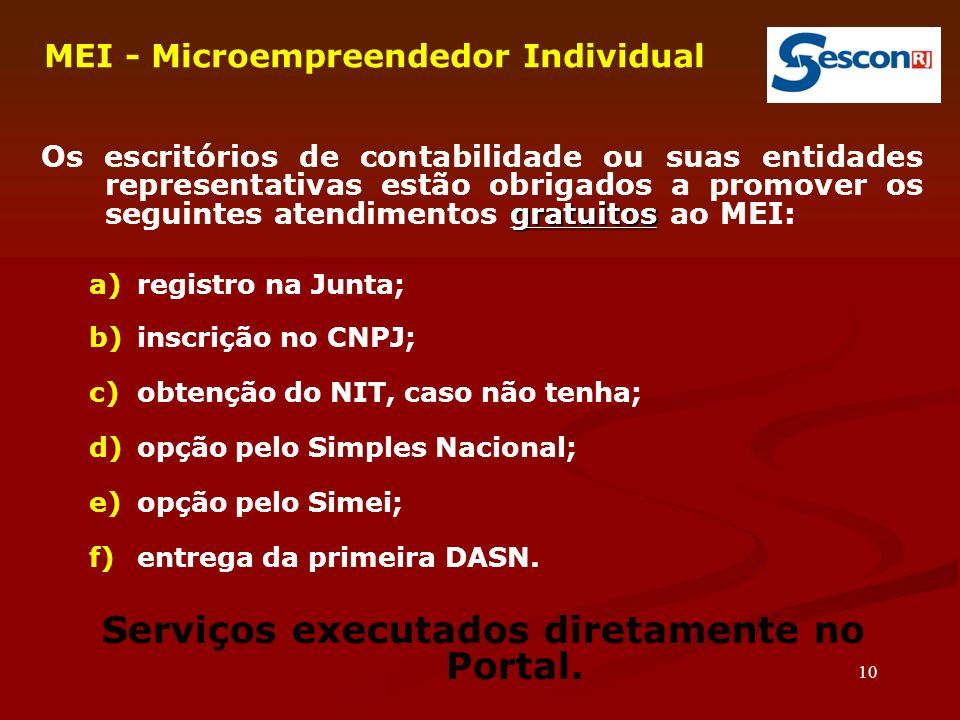 Serviços executados diretamente no Portal.