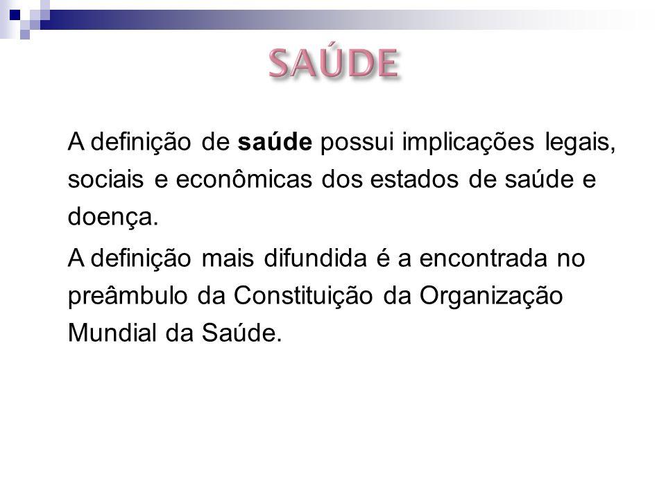 A definição de saúde possui implicações legais, sociais e econômicas dos estados de saúde e doença.
