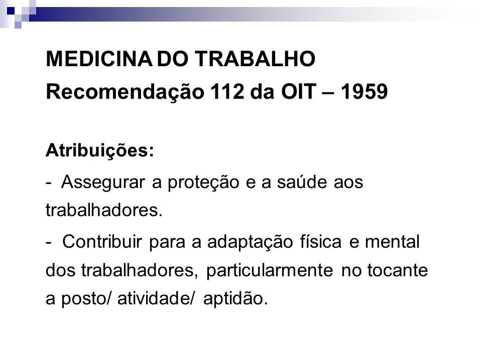 MEDICINA DO TRABALHO Recomendação 112 da OIT – 1959 Atribuições: