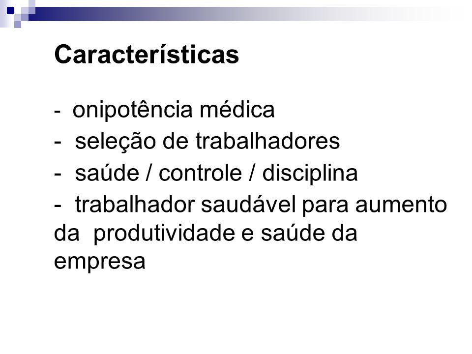 Características - seleção de trabalhadores