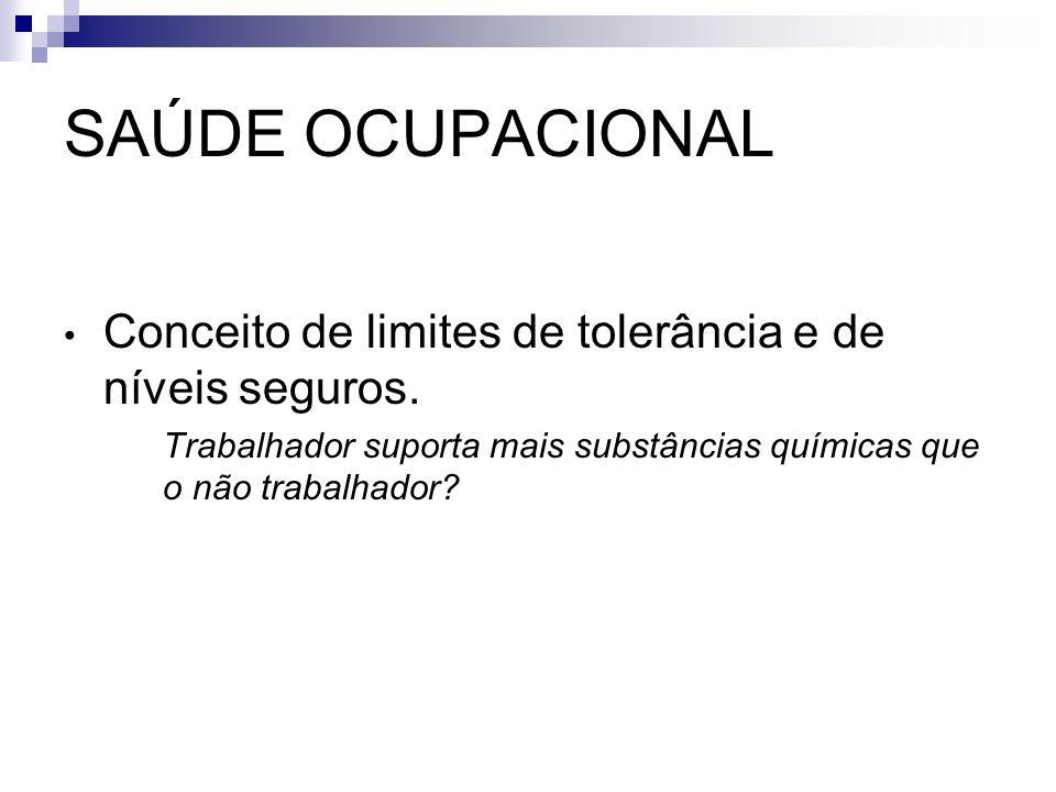 SAÚDE OCUPACIONAL Conceito de limites de tolerância e de níveis seguros.