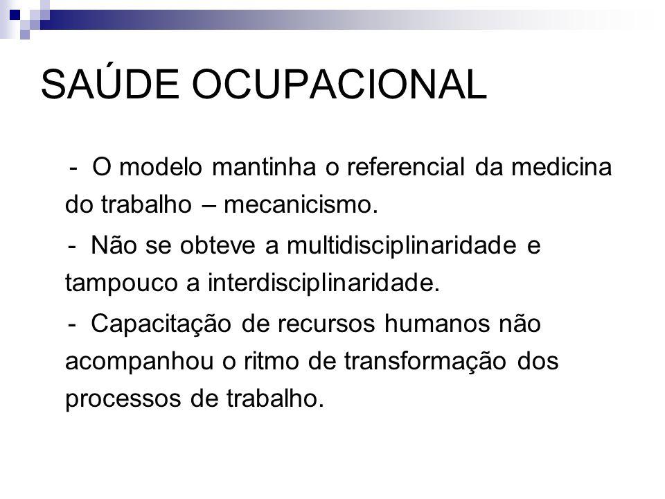 SAÚDE OCUPACIONAL - O modelo mantinha o referencial da medicina do trabalho – mecanicismo.