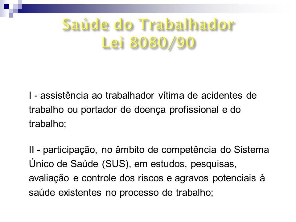 Art. 6º § 3º I - assistência ao trabalhador vítima de acidentes de trabalho ou portador de doença profissional e do trabalho;