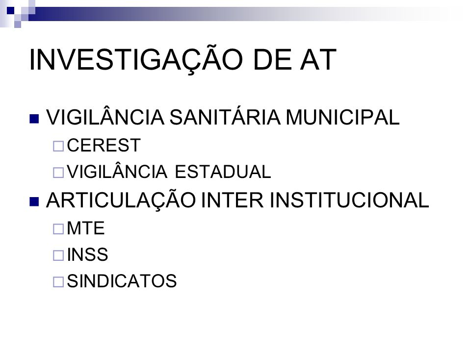 INVESTIGAÇÃO DE AT VIGILÂNCIA SANITÁRIA MUNICIPAL
