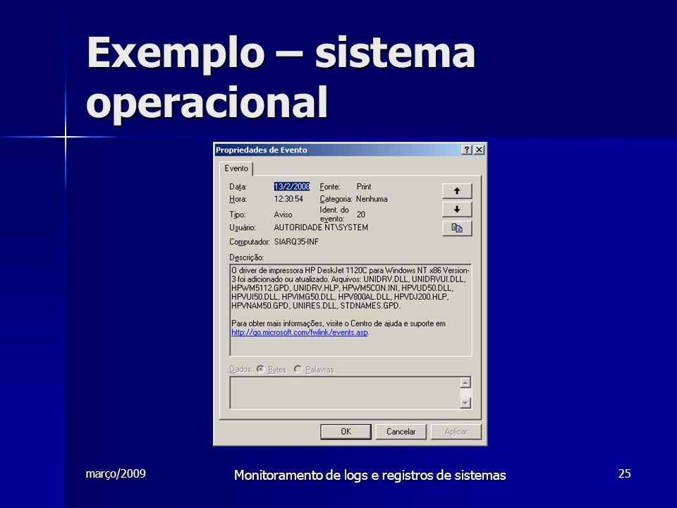Exemplo – sistema operacional
