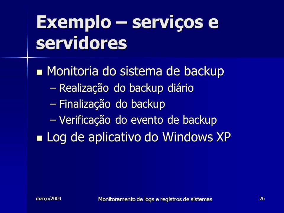 Exemplo – serviços e servidores