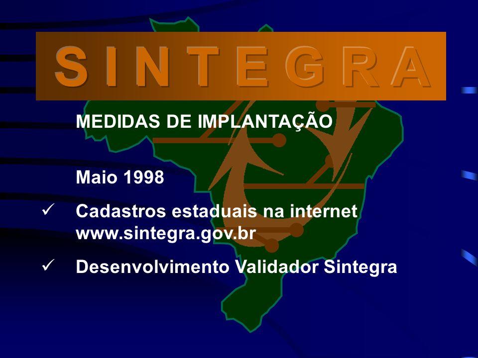 S I N T E G R A MEDIDAS DE IMPLANTAÇÃO Maio 1998