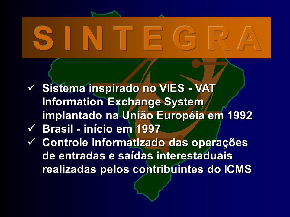 S I N T E G R A Sistema inspirado no VIES - VAT Information Exchange System implantado na União Européia em 1992.