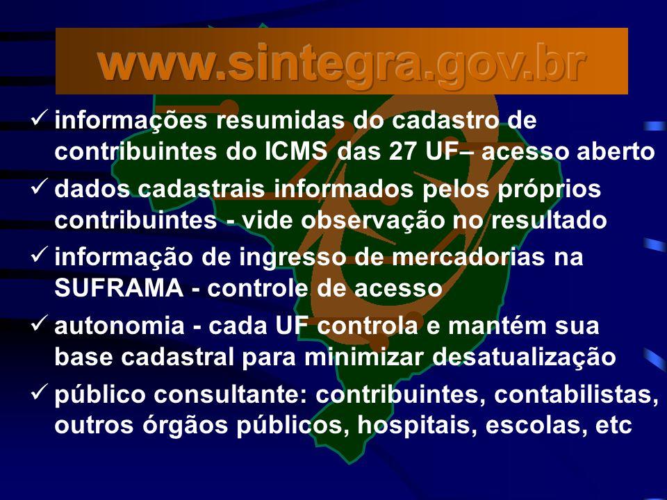 www.sintegra.gov.br informações resumidas do cadastro de contribuintes do ICMS das 27 UF– acesso aberto.