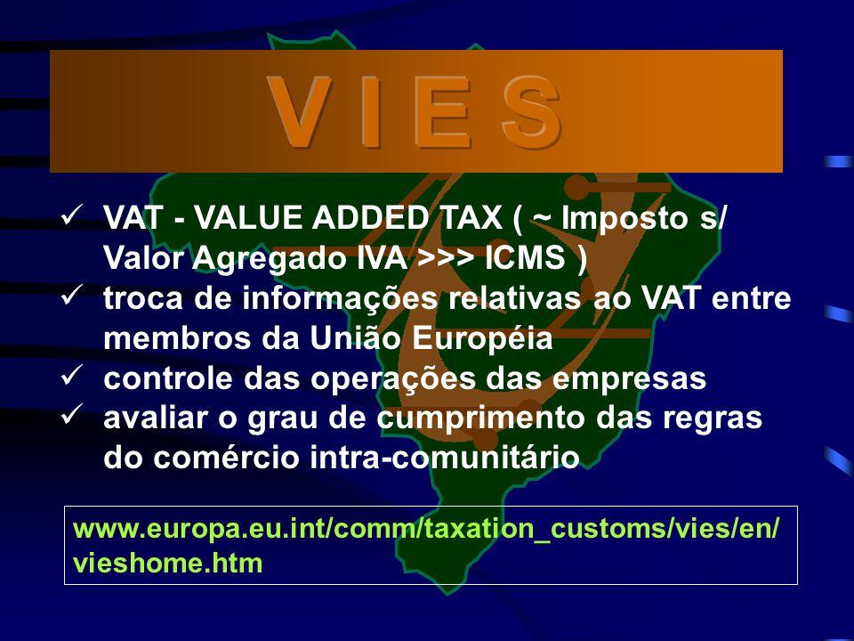 V I E S VAT - VALUE ADDED TAX ( ~ Imposto s/ Valor Agregado IVA >>> ICMS ) troca de informações relativas ao VAT entre membros da União Européia.