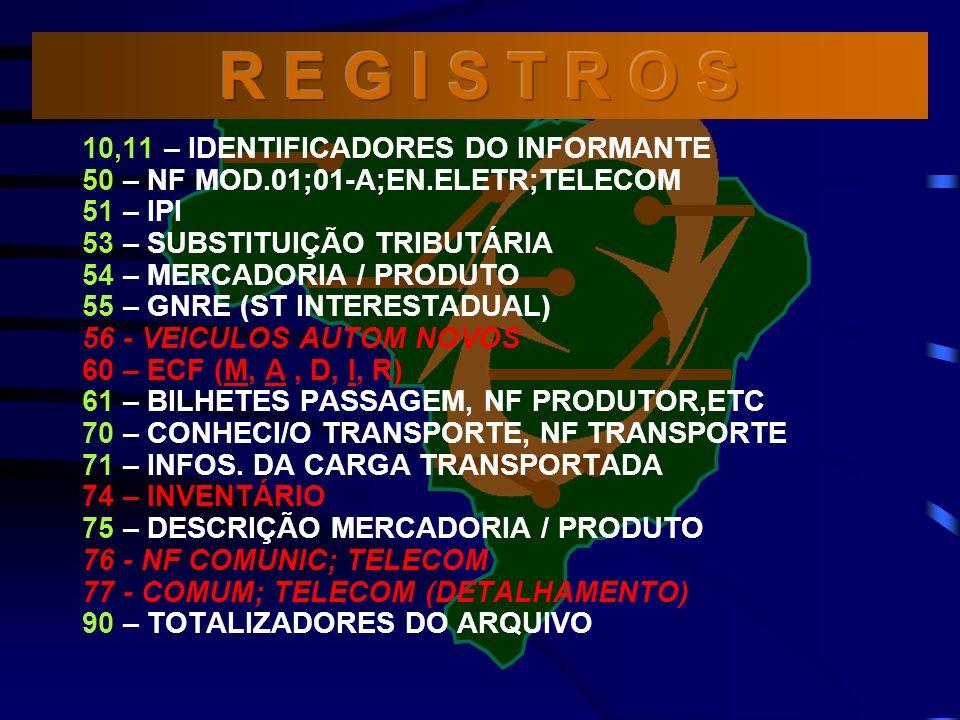 R E G I S T R O S 10,11 – IDENTIFICADORES DO INFORMANTE