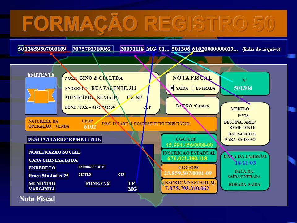 FORMAÇÃO REGISTRO 50 Nota Fiscal 50 23859507000109 7075793310062