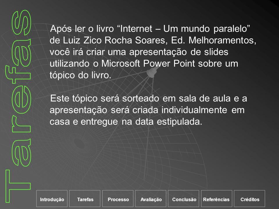 Após ler o livro Internet – Um mundo paralelo de Luiz Zico Rocha Soares, Ed. Melhoramentos, você irá criar uma apresentação de slides utilizando o Microsoft Power Point sobre um tópico do livro.