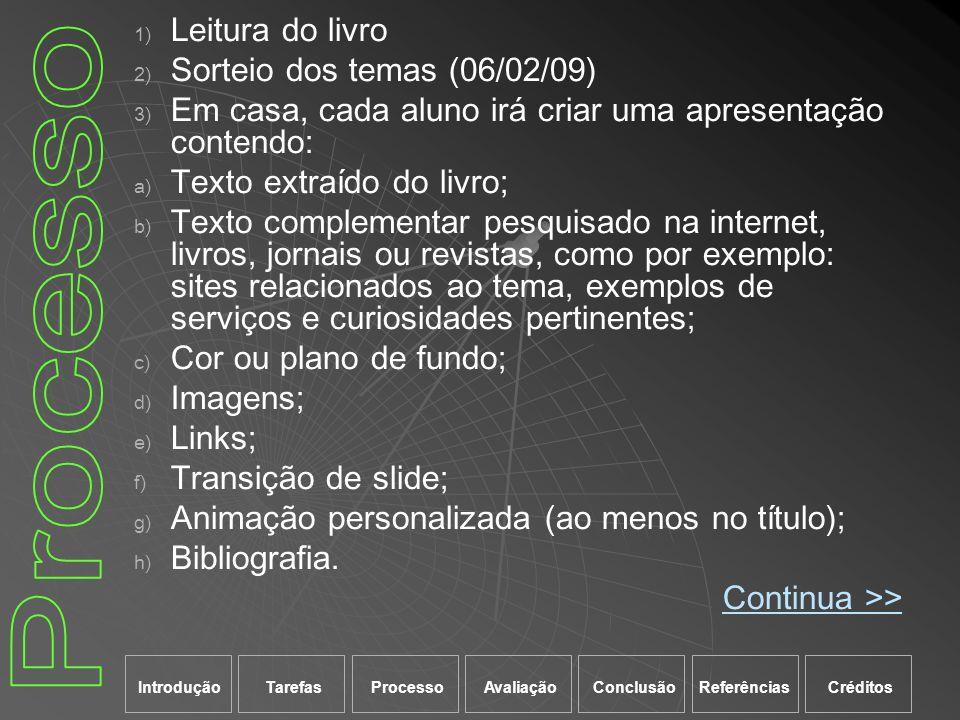 Processo Leitura do livro Sorteio dos temas (06/02/09)