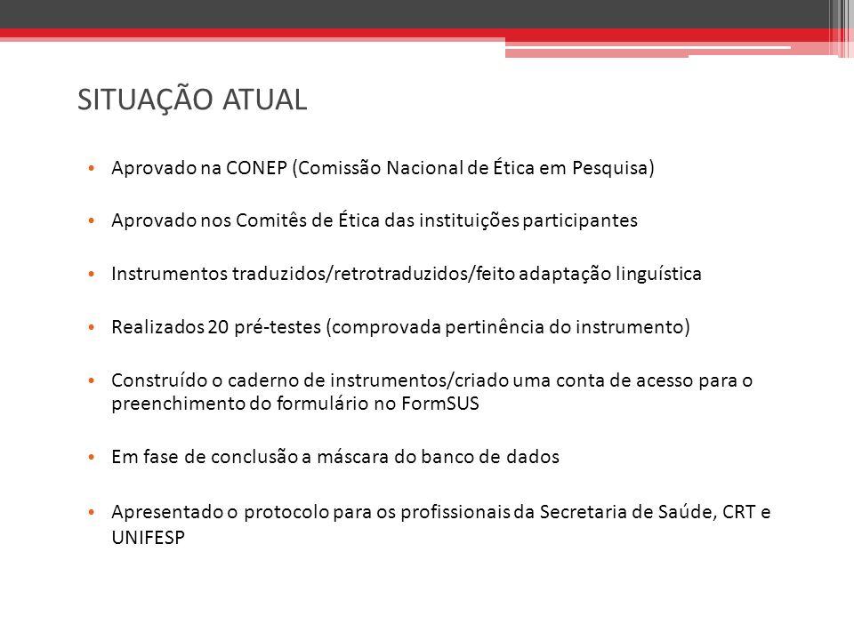 SITUAÇÃO ATUAL Aprovado na CONEP (Comissão Nacional de Ética em Pesquisa) Aprovado nos Comitês de Ética das instituições participantes.