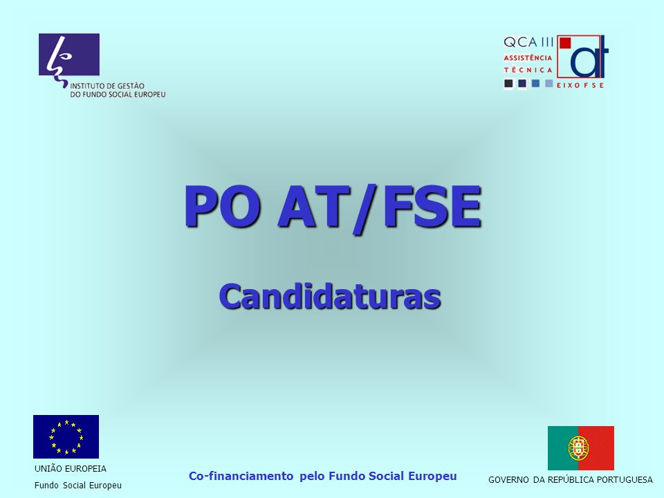 Co-financiamento pelo Fundo Social Europeu