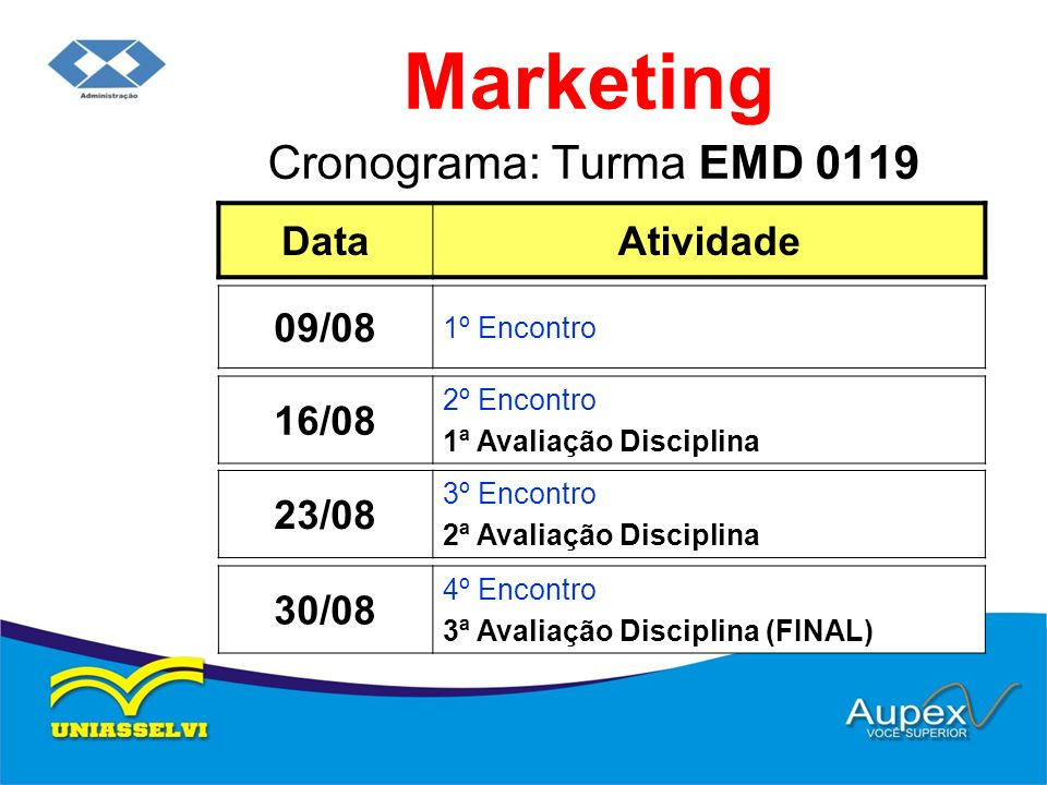 Marketing Cronograma: Turma EMD 0119 Data Atividade 09/08 16/08 23/08