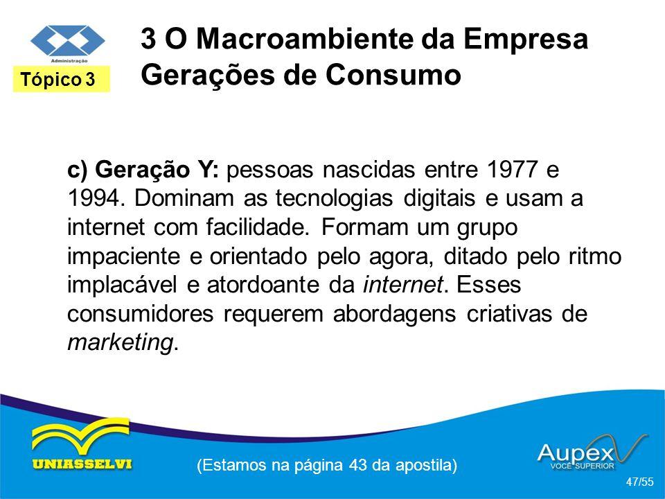 3 O Macroambiente da Empresa Gerações de Consumo